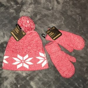 Youth Pom Hat and Mitten Set
